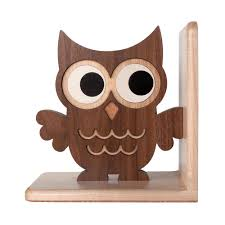 owl wooden bookend heirloom graphic spaces