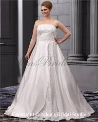 allens bridal lace embroiderd strapless sweep train satin a line