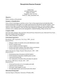 Example Career Objective Resume by Resume For Receptionist Position Free Resume Example And Writing