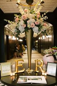 wedding reception table ideas chic downtown ta wedding gold vases white flower