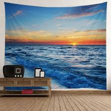 home decor tapestry seaside sunset home decor tapestry in light blue w59 inch l79