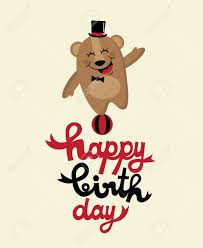 cute happy birthday card with nice bear vector illustration