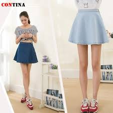 light blue skater skirt women denim skirt high waist a line jeans skirts saias femininas