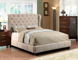 ivory fabric king upholstered bed frame decorative king