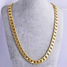 mens jewelry necklace chain images New yellow solid gold filled cuban chain necklace thick mens
