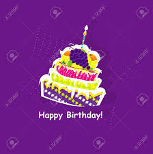 happy birthday card with cake vector illustration royalty free