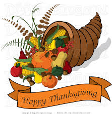 clip illustration of a cornucopia with a happy thanksgiving