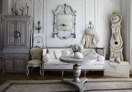 shabby chic interior design for living room with a mirror and a