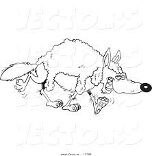 vector of a cartoon wolf wearing wool coloring page outline by