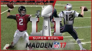 madden 17 super bowl 51 simulation atlanta falcons vs new