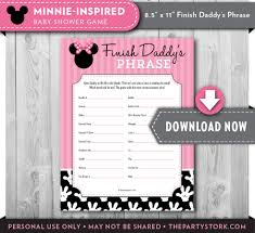 baby shower games finish daddy u0027s phrase minnie mouse