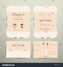 Invitation Card With Rsvp Art Deco Cartoon Couple Wedding Invitation Stock Vector 391125361