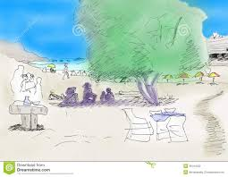 beach scene doodle sketch color stock illustration image 46144520