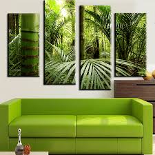 Jungle Home Decor Cuadros 4 Pieces Set The Beautiful Tropical Jungle Wall Painting