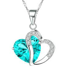 blue heart crystal necklace images Katgi fashion blue austrian crystals heart shape pendant necklace jpg