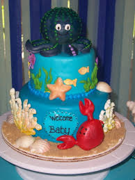 under the sea themed baby shower cake for a friend this was a