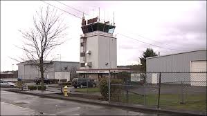 The air traffic control tower at Renton Municipal Airport
