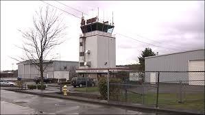 The air traffic control tower at Renton Municipal Airport