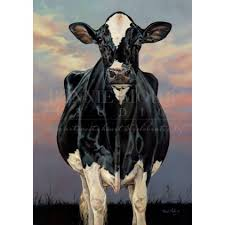 holsteins print featuring a towering holstein cow and a