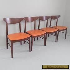 mcm furniture 4 danish modern mid century walnut side chairs stanley furniture 60s
