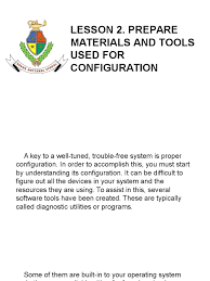 lesson 2 prepare materials and tools used for configuration