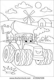 cartoon truck car village coloring stock vector 472082506