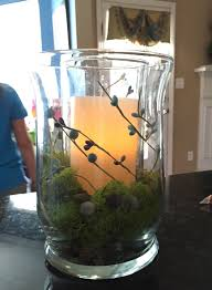 Hurricane Vases Bulk Spring Centerpiece Hurricane Vase With Pebbles And Moss And Led