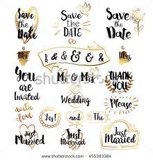wedding decorative lettering set hand drawn stock vector 455383384