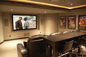 Home Theatre Interior Design Pictures by Sweet False Ceiling Lights And White Plafond Over Great Leather