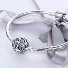 charm bracelet jewelry images 925 sterling silver blue clearly cubic zircon anchor beads fit jpg