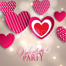 valentines day lights s day party invitation with paper hearts and bright