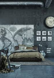 World Map Rug by Bedroom Dark Concrete Bedroom Walls With World Map Wall Decal