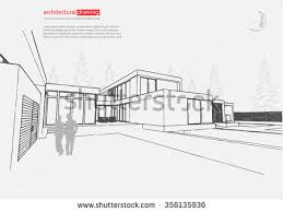 wireframe blueprint drawing 3d building vector stock vector