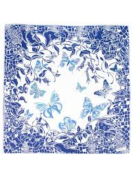 emilio pucci butterfly print scarf in blue lyst