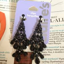 claires clip on earrings 40 s jewelry black chandelier clip on earrings from