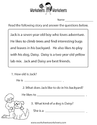 free worksheets for kindergarten reading comprehension my free