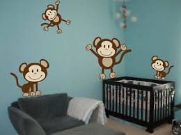 Nursery Monkey Wall Decals 4 Monkeys Wall Decals Sticker Nursery Decor Mural Ebay