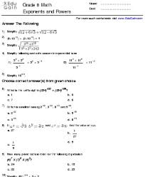 grade 8 math exponents worksheets the best and most