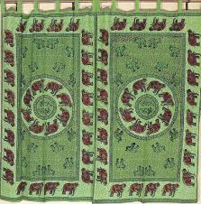 green cotton curtains u2013 elephant block print indian style tab top
