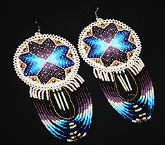 Native American Beaded Earrings Huichol Native American Earrings Native American Quill Earrings Native