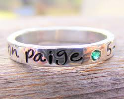 engraved stackable rings mothers ring personalized birthstone stacking ring sted