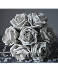 silver flowers silver grey colour childs flower girl bouquet of artificial
