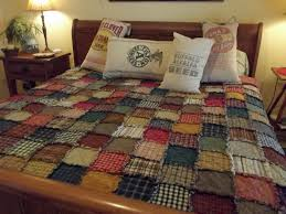 brown plaid primitive star country home cotton quilt bedding set