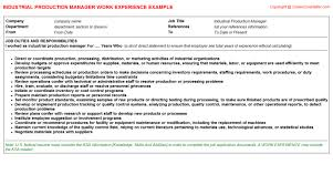 Sample Resume For Production Manager by Industrial Production Manager Cv Work Experience