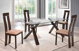 Dining Room Furniture Indianapolis Sophisticated Rectangular In Wood Clear Glass Top Dining Set