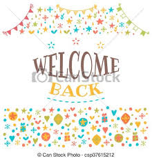 vector clip art of welcome back text with colorful design elements