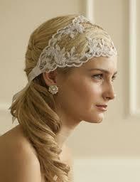 wedding headband split lace ribbon wedding headband with netting 4098hb