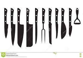 different kitchen knives knife set black silhouette set of different knifes black