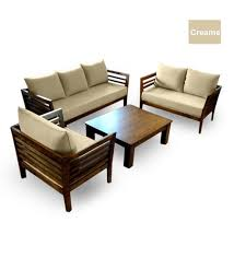 Wooden Sofa Furniture Wooden Sofa Set 3 2 1 Seater Coffee Table By Furny Online