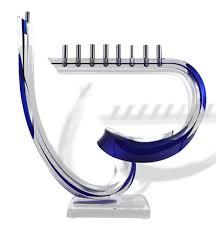 lucite menorah hanukkah gifts abstract hanukkah menorah blue acrylic